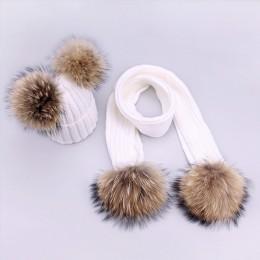 Czapki dla rodziców i dzieci śliczne niemowlę dziecko Pompon czapka zimowa szalik zestawy prawdziwe futro naturalne czapki z das