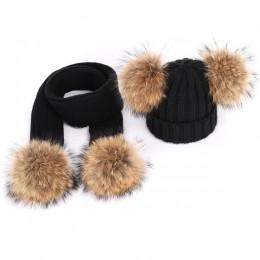 Nowy śliczne dzieci futro szopa pom poms czapka dzianinowa kapelusz szalik chłopiec dziewczyna zimowe zagęścić Hedging czapka sz