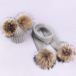 Dziewczyna Pompon czapki i szaliki zestawy zimowe dzianiny ciepłe futro naturalne Pom czapka z pomponem szalik grube czapki czap