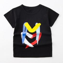 Panda tygrys dinozaur cekiny dzieci T Shirt dla chłopców koszulki dzieci T Shirt nadruk kreskówkowy lato topy koszulki na ubrani