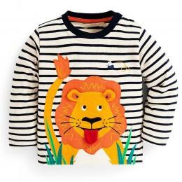 Kidsalon dzieci T koszule chłopięce ubrania topy dla małego chłopca jesień 2019 nowe dzieci T-shirt aplikacja ze zwierzątkiem ba