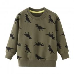 Chłopcy t-shirty jesień z długim rękawem topy dzieci dinozaur aplikacje bawełniana bluza dzieci chłopcy koszule odzież chłopięce