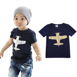 2019 nowa bawełna urodzone ubrania dla dzieci samolot koszulka z nadrukami niebieski samolot zwykły Tees topy chłopcy ubrania z