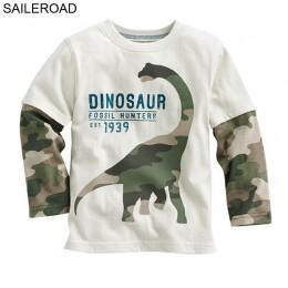 SAILEROAD dinozaur chłopcy koszulka z długim rękawem dla 2-8 lat stare bawełniane dzieci dzieci chłopcy topy koszulki T Shirt je