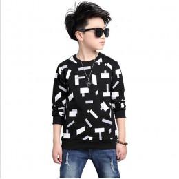 2019 Trendy topy z okrągłym dekoltem dla chłopców bawełniane koszulki dla dzieci wiosna i jesień dla dzieci odzież codzienna Big