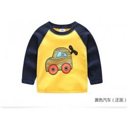2018 wiosna jesień dla 2-9 10 lat dzieci bawełniane w paski Patchwork Cartoon samochód autobus ciężarówka dziecko dzieci chłopcy