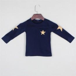 Nowe wiosenne i jesienne koszulki dziecięce, gorąca sprzedaż ubrań dla chłopców, wzór gwiazdy z długim rękawem T-shirt