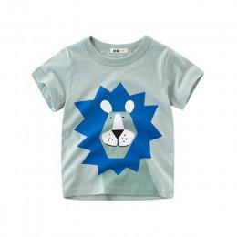 Loozykit Cartoon Boys Baby dinozaur T Shirt na lato niemowlę dzieci chłopcy dziewczęta lew koszulki ubrania bawełniane maluch to