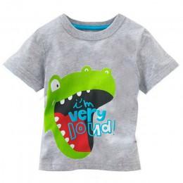Maluch dziecko dzieci chłopcy bawełniane topy T-shirt Cartoon nadruk zwierzęta odzież stroje