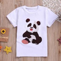 2019 nowy chłopiec Tshirt Panda Cartoon nadruk z uroczym zwierzątkiem dziewczyna koszule dzieci wygodne O-Neck Tshirt z krótkim