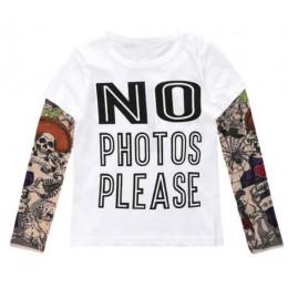 2019 dzieci T-SHIRT bawełna z długim rękawem dzieci rękawy tatuaże Tees dziewczyny chłopcy odzież topy koszulki nadrukowane lite