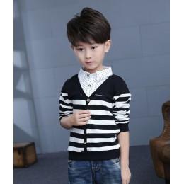 Chłopcy ubrania dzieci dzianiny T Shirt nastoletnie ubrania wiosenne chłopięca koszula z długim rękawem chłopcy kurtka 4-13T dzi