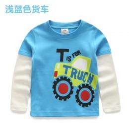 Chłopcy T-shirt dziecięce koszulki dziecięce dziecko chłopiec kreskówka wiosna dzieci Tee długie wyszywane rękawy bawełniane sam