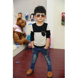 Koszulki dziecięce koszulki dziecięce dla chłopców koszulki z długim rękawem leopard panther 2020 baby Size100 ~ 150 boy wiosenn