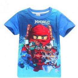 Niebieskie koszulki dla chłopców chłopiec koszula dzieci T Shirt dla chłopca Ninja topy koszulki chłopcy koszula dzieci ubrania
