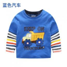 Chłopcy T-shirt dziecięce koszulki dziecięce dziecko chłopięce kreskówkowe topy wiosna dziecięca koszulka z długim rękawem baweł