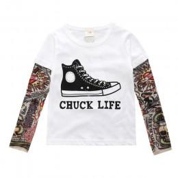 Chłopiec ubrania bawełniana koszulka z długim rękawem dla dzieci koszulki nowość tatuaż rękaw dla dzieci chłopcy topy wiosna i j