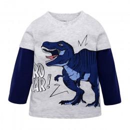 Chłopcy koszulka z długim rękawem 2019 Cartoon dinozaur dzieci dzieci chłopcy topy koszulki T Shirt bawełna maluch koszula dla c