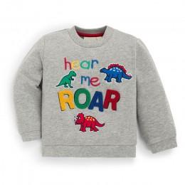 Mały maven 2019 jesień nowe chłopięce markowe ciuchy maluch chłopiec szary list dinasaur aplikacja t shirt świąteczne koszule C0