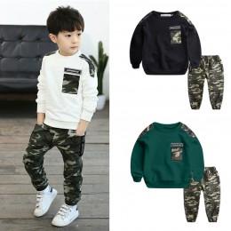 Nastolatek ubrania dla dzieci niemowląt chłopców kostium list dres top moro spodnie 2 sztuk dzieci chłopiec zima stroje zestaw r
