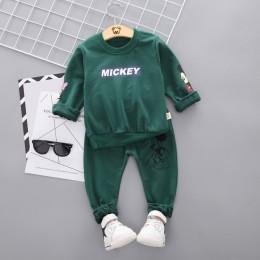 Nowa wiosna jesienna odzież dla dzieci chłopcy Cartoon Casual koszulka sportowa spodnie 2 sztuk/zestaw niemowlę strój dzieci ubr