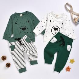 Jesień gorąca sprzedaż Boys Baby niedźwiedź bluza z kapturem spodnie strój kreskówka bluza topy + spodnie stroje 2 sztuk zestaw