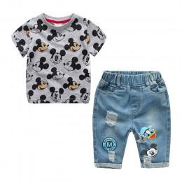 Odzież dla dzieci chłopcy lato kreskówka myszka miki spodenki spodnie dżinsowe kombinezon sportowy dla dzieci koszulka z krótkim