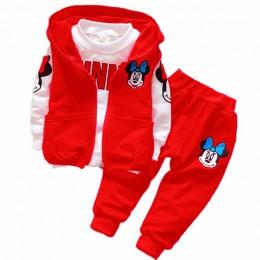 Jesień Cartoon 3 sztuk Minnie Mickey odzież zestaw ubrania dla dzieci chłopcy dziewczęca kurtka z kapturem + T Shirt + spodnie s