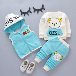 Boys Baby dziewczyny boże narodzenie jesień ciepła kamizelka + bluza + spodnie 3 szt. Niemowlę dzieci dziecięcy strój sportowy m