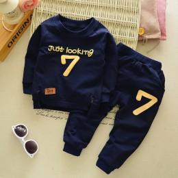 Wiosna jesień dzieci chłopcy Girsls odzież bawełniana z długim rękawem list zestawy ubrania dla dzieci dres dla dzieci T-Shirt s