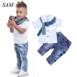 Baby Boy Clothes Casual t-shirt + szalik + dżinsy 3pc odzież dla dzieci zestaw letnie dziecko dzieci kostium dla chłopców 2019 m