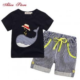 80-130cm bawełna dzieci chłopcy odzież dla dzieci odzież dla dzieci zestawy letnie ubrania dla dzieci chłopiec śliczny wieloryb