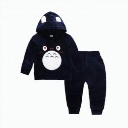Moda dla dzieci chłopcy dziewczyna odzież z nadrukiem kreskówki garnitury dziecko aksamitne spodnie bluza z kapturem 2 sztuk/zes