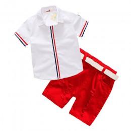 Zestawy ubrań dla chłopców letnie dziecięce koszulki + spodenki + pas 3 szt. Garnitury łuk spodnie sportowe ubrania dla dzieci m