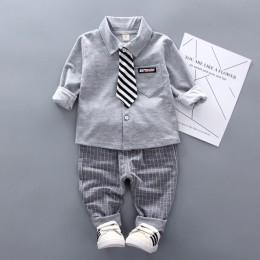2019 nowa wiosna Boys Baby odzież formalne niemowlę Gentleman Tie koszula spodnie 2 sztuk/zestawów dzieci Clothess bawełna dziec