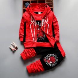 2018 zestawy ubrań dla chłopców drukuj kurtka z motywem kreskówki + T-Shirt + spodnie odzież dla dzieci 3 szt. Boys Baby Spider