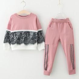 Dzieci wiosna garnitury 2019 w nowym stylu dziewczyny ubrania sportowe zestawy 2 sztuk koronki projekt Splice i jednolity kolor