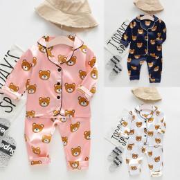 Jesień nowa moda maluch Boys Baby z długim rękawem Cartoon niedźwiedź topy + spodnie piżamy piżamy stroje uwalnia statek roupa i