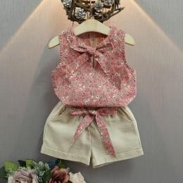 Melario zestawy ubrań dla dziewczynek z bawełny letnia kamizelka dwuczęściowe zestawy bez rękawów dla dzieci modne ubrania dla d