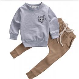 """2019 Trend Style nowonarodzone dzieci zestawy ubrań dla niemowląt """"Scallywag Crew"""" szare bawełniane bluzki + spodnie khaki Baby"""