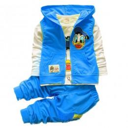 Tańsze dzieci dziewczyny Minnie Mickey odzież garnitur chłopiec jesień kamizelka z kapturem płaszcz T koszula spodnie 3 sztuk dr