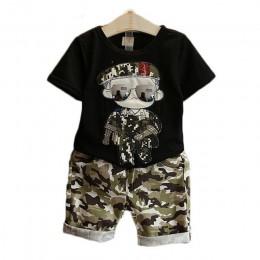Ubrania dla dzieci 2019 letnie dzieci z krótkim rękawem T-Shirt + szorty kamuflażowe garnitury maluch zestawy ubrań dla chłopców