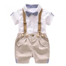 Formalne ubrania dla dzieci maluch chłopcy odzież zestaw letnie dziecko garnitur szorty dzieci koszula z kołnierzem ślub kostium