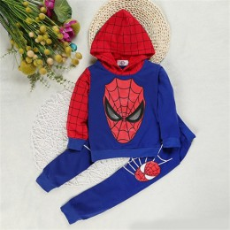 Spiderman zestawy ubrań dla chłopców bawełniany strój sportowy płaszcz + spodnie + Tshirt Spider-Man Superhero przebranie na kar
