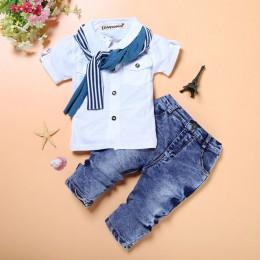Maluch chłopiec ubrania letnie ubrania dla dzieci chłopców ubrania dżentelmen zestawy dla dzieci ubrania t-shirt + dżinsy dresy