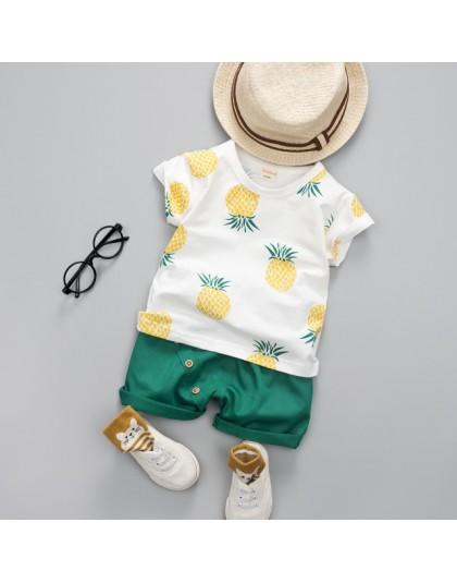 Chłopcy dziewczęta letnie ubrania moda zestaw bawełniany drukowany owocowy strój sportowy dla chłopca T-Shirt + spodenki odzież