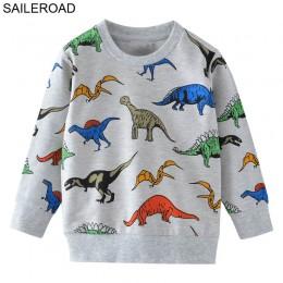 SAILEROAD Cartoon dinozaur chłopcy bluzy dla małe dzieci bluzy ubrania 2-7 lat jesień dzieci koszule z długim rękawem bawełna