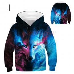 Wolf 3D bluzy dziecięce dla dziewczynek nastolatki ponadgabarytowa bluza dziecięca dla chłopców dziewczęta bluza dziecięca bluzy