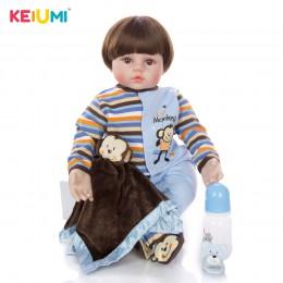 24 Cal Handmade miękkiego silikonu maluch laleczka bobas Reborn zabawka dla dziecka realistyczne noworodków prezent urodzinowy p