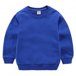 Bluzy dziecięce bluzy dziewczynka dzieci biały t-shirt pulower bawełniany topy dla chłopców jesień jednolite kolorowe ubrania 1-
